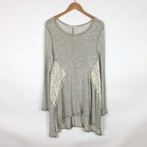 Altar'd State Open Knit Lace Hi-Lo Tunic Sweater